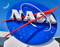 The Meatball and the Moon - NASA logo at the entrance to the Kennedy Space Center at Cape canavaral Royalty Free Stock Photo