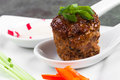 Meatball with sides asian style of radish pepper and bean sprouts Stock Images