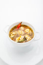 Meatball soup vegetable with meatballs and potato on a white background Royalty Free Stock Photography