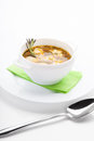 Meatball soup vegetable with meatballs and potato on a white background Royalty Free Stock Photos