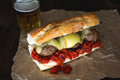 Meatball sub simple with melted scamorza cheese Royalty Free Stock Image