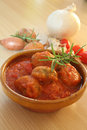 Meatball on the table with tomato sauce Stock Images