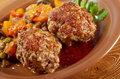 Meatballs beef roasted with vegetables on a plate Royalty Free Stock Photos
