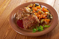 Meatballs beef roasted with vegetables on a plate Stock Photos