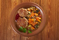 Meatballs beef roasted with vegetables on a plate Stock Images