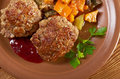 Meatballs beef roasted with vegetables on a plate Royalty Free Stock Photography