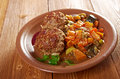 Meatballs beef roasted with vegetables on a plate Royalty Free Stock Images