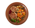Meatballs beef roasted with vegetables on a plate isolated Stock Photos
