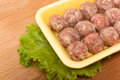 Meatballs from chicken meat made of on the tray Royalty Free Stock Image