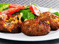 Meatballs with corn and cheese Royalty Free Stock Photo