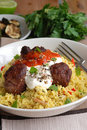 Meatballs with couscous Stock Photos