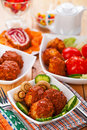 Meatballs, cucumbers, tomatoes, Stock Images
