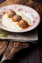 Meatballs, duck meat, with apple sauce and mashed celery, potato Royalty Free Stock Photo