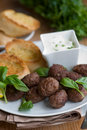 Meatballs with garlic bread Stock Photo