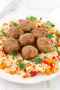 Meatballs with garnish on plate Stock Photo