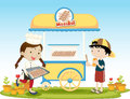 Meatballs illustration of kids selling food Stock Image