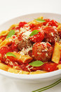 Meatballs with Penne Pasta Stock Photography