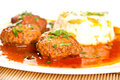 Meatballs with rice and tomato sauce Stock Photo