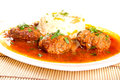 Meatballs with rice and tomato sauce Royalty Free Stock Photo