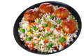 Meatballs with rice and vegetables Royalty Free Stock Photos