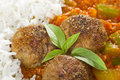 Meatballs and Sauce Close Up Stock Photography