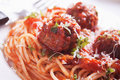 Meatballs with spaghetti pasta meat balls tomato sauce and Royalty Free Stock Photos