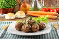 Meatballs stewed with vegetables Stock Photography