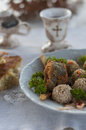 Meatless food corn bread fish and wine christmas table Stock Images