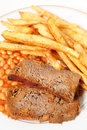 Meatloaf fries and beans vertical Stock Photo
