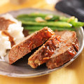 Meatloaf with greenbeans and mashed potatoes close up shot of a plate of meat loaf green beans Royalty Free Stock Photos