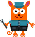 Mechanic cat a cartoon dressed like a and holding a wrench Stock Photo