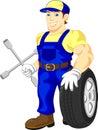 Mechanic holding a wheel