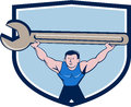 Mechanic Lifting Giant Spanner Wrench Crest Cartoon Royalty Free Stock Photo