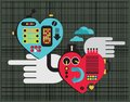 Mechanic love vector illustration of hearts Stock Images
