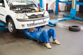 Mechanic lying and working under car Royalty Free Stock Photo