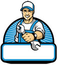 The mechanic mascot with the wrench