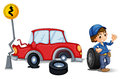 A mechanic near the car accident area illustration of on white background Royalty Free Stock Photography
