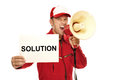 Mechanic in red overall holding a solution sign and screaming into a megaphone Royalty Free Stock Images