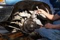 Mechanic repairing brake disk and detail of the wheel