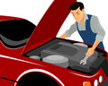 Mechanic repairs motor