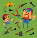 Mechanic set flat hand drawn vector illustration Stock Images