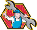 Mechanic With Spanner Thumbs Up Royalty Free Stock Images