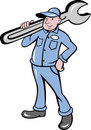 Mechanic with spanner wrench Stock Image