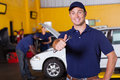 Mechanic thumb up happy male auto giving holding wrench Royalty Free Stock Photos