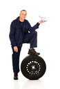 Mechanic with a tire and basket Royalty Free Stock Photo