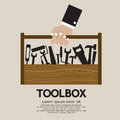 Mechanic toolbox hand holding a vector illustration eps Stock Photos