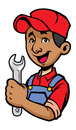 Mechanic vector of smiling hold a wrench Stock Photo