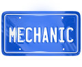 Mechanic word vanity license plate auto repair shop garage on a blue metal for a car or automobile to illustrate a or for fixing a Royalty Free Stock Images
