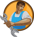 Mechanic Worker Holding Spanner Circle WPA