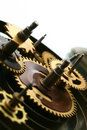 Mechanical clock gear Stock Photos